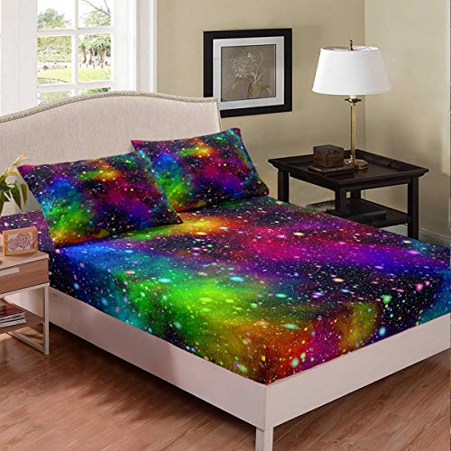 Erosebridal Colorful Galaxy Fitted Sheet Full Size Space Theme Sheet Set Starry Sky Bedspread Modern Dream Bedroom Decorative 3 Pieces Bedding Set (1 Fitted Sheet 2 Pillow Cases) Watercolor