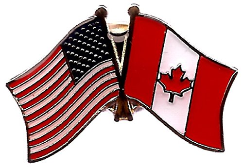 PACK of 50 Canada & US Crossed Double Flag Lapel Pins, Canadian & American Friendship Pin Badge