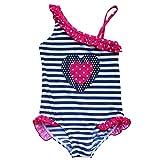 TiaoBug Kinder Badeanzug Bademode Einteiler Bikini Schwimmanzug Herzchen 92-128 für Mädchen Marineblau 92 (Herstellergröße:92-98)