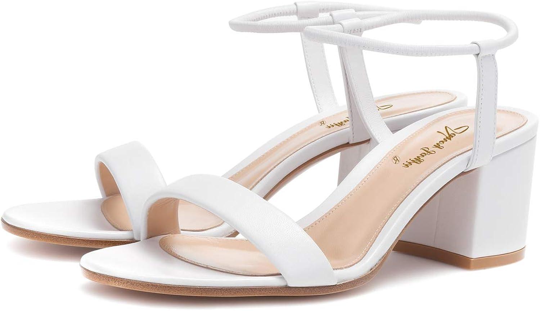 NJ Women Comfy Block Heel Slingback Sandals Open Toe Strappy Ankle Strap Leather Summer Dress Pumps shoes