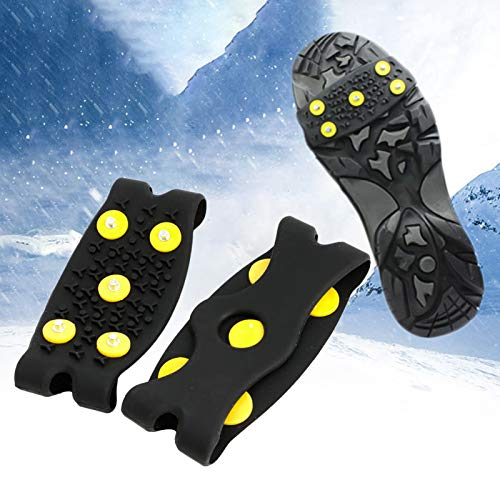 LAPUTA Crampons Shoe Cover, 2Pcs Non-Slip Crampons Silicone Shoes Cover Ice Cleats Outdoor Camping Mountaineering Tool Black