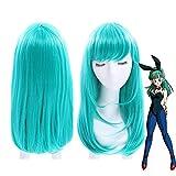 Peluca de Dragon Ball Bulma de 45 cm, pelo sintético recto medio largo para mujer, disfraz de niña, peluca de fiesta F, verde, Anime japonés