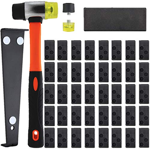 Laminate Wood Flooring Installation Kit with Solid Tapping Block, Long & Wider Pull Bar, 40 Spacers, Double-Faced Mallet & 2 Replacement Mallet Head, for Domestic & Professional Flooring Installation
