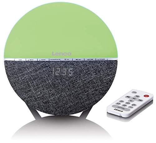 Lenco Wellness Uhrenradio CRW-4 – Radiowecker mit Wecklicht, Bluetooth und Doppelalarm in Grau