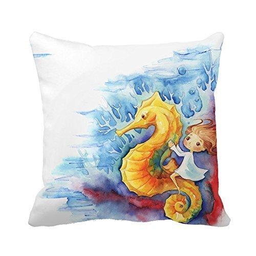 Warrantyll Mode A Little Child on the Hippocampe Home décoratif Coussin carré Taie d'oreiller, Coton, #1, 20\