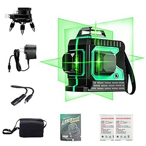 VANFLY Nivel Láser, 3X360° Nivel Láser Verde 25M líneas, láser verde IP54-12 lineas Nivel láser Autonivelación y Función de Pulso, Auto nivelación