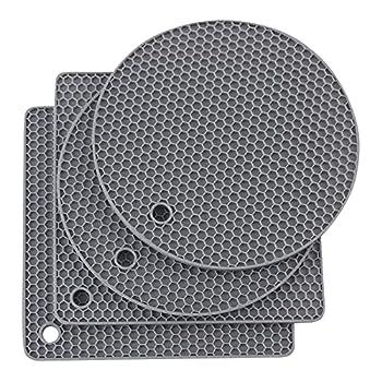 Joyhalo Silicone Trivet Mats Pot Holder Hot Pads Plate Holder Gripper Pad Garlic Peeler Drying Mat Coasters Grey