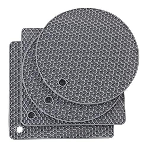 Joyhalo Silicone Trivet Mats Pot Holder Hot Pads Plate Holder Gripper Pad Garlic Peeler Drying Mat Coasters, Grey