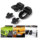Jeep Hood Latch Locking for 2007-2018 Jeep Wrangler JK JL Original Black Stainless Steel Hood Catches Kit for Passenger and Driver Side Jeep Accessories