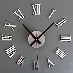 KICODE Metal Chic 3D DIY Adhesive Silver Vintage Roman Numeral Number Frameless Wall Clock Living Home Decoration