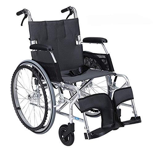 MJY Rollstuhl Klappbarer Leichter Rollstuhl Ultraleichtes kleines Rad Old Man Trolley Aviation Titan Aluminium Rollstuhl, B-Schwarz