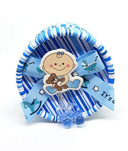 takestop® Bonbonnière doos, rond, 12 stuks, lichtblauw, gestreept, fopspeen 7 x 5,5 cm doos van papier c1310b bonbonnière voor confect geboorte