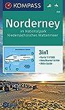 KOMPASS Wanderkarte Norderney im Nationalpark Niedersächsisches Wattenmeer: 3in1 Wanderkarte 1:17500 mit Aktiv Guide und Detailkarte. Reiten.