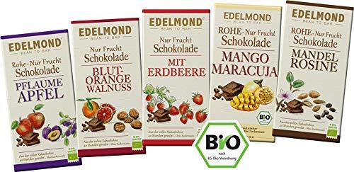 Edelmond Bio Schokoladen ohne raffinierten Zucker, Vegan, Glutenfrei, Laktosefrei, Zartbitter. Nur Süße durch Frucht. (5 Tafeln)