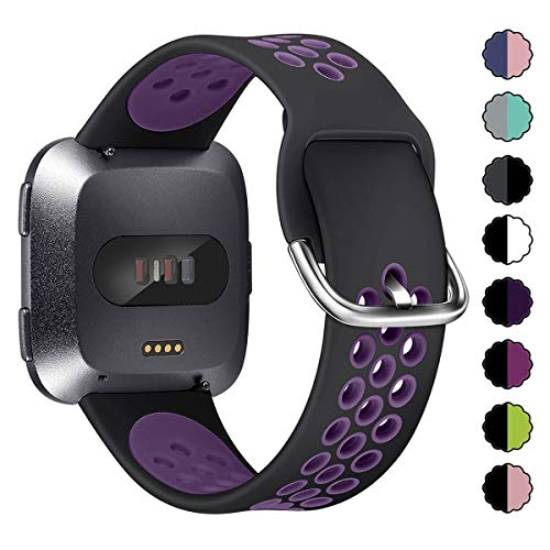 XIMU Sport Bands Compatible with Fitbit Versa / Versa 2 / Versa Lite, Soft Silicone Waterproof Breathable Sport Watch Strap Replacement Wristband Accessories Women Man for Versa Smart Watch