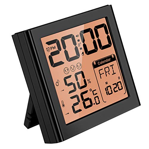 Travel Alarm Clock, Digital Clock with Snooze, Backlit, Temperature, Date, Simple Basic Operation, Bedside Digital Clock Battery Powered for Bedroom, 12/24H (Yellow)