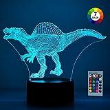 SOKY Spiel für Jungen Mädchen 2-10 Jahre, Dinosaurier Spielzeug 3D Illusionslampe für Kinder Geschenke für Jungen 2-10 Jahre für Jungen 2-10 Jahre Jungen Geschenk Spielzeug Dinos Nachtlicht Zimmer
