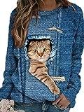 Camiseta con Estampado 3D de Gato Lindo de Manga Larga para Mujer Sudadera Informal con Cuello Redondo y Jersey