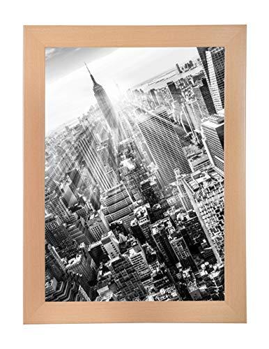 FRAMO 35 mm Bilderrahmen DIN A4 (21 x 29,7 cm Bildmaß), Farbe: Buche, handgefertigter MDF Rahmen mit Anti-Reflex Kunstglasscheibe, Rahmen Breite: 35 mm, Außenmaß: 26,8 x 35,5 cm