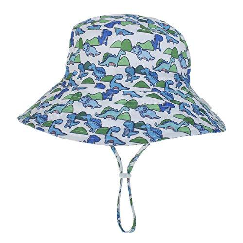 Hawiton Baby Sonnenhut UV Schutz Kleinkind Fisherhut Sommermütze mit Kinnriemen Baumwolle Nackenschutz Hut (Dinosaurier, S)