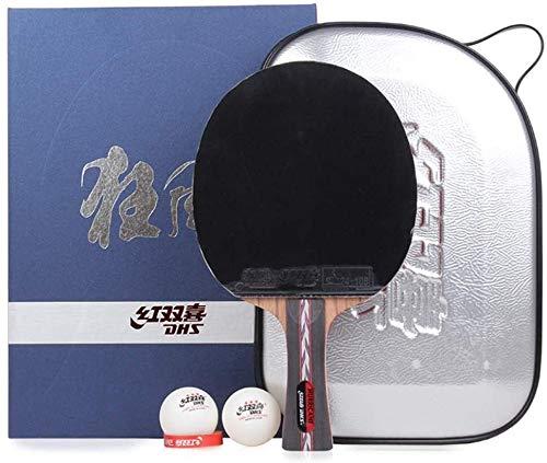 Kit Ping Pong Portátil para Interiores Exteriores Competencia Bat Tabla raqueta de tenis paleta de ping pong Mesa de ping pong ofensivo del ping-pong de la raqueta con la caja de 5 capas de madera pur