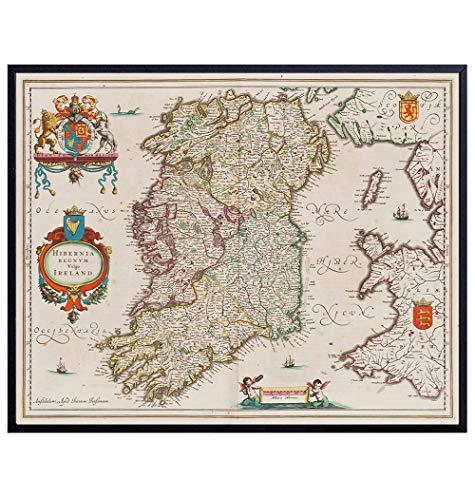 Map of Ireland - Irish Wall Art - Vintage Antique Style - Irish Home Decor - Irish Gifts - Retro Celtic Wall Decor Poster Print - Irish Wall Decor