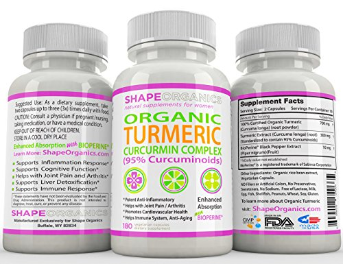 Shape Organics TURMERIC CURCUMIN 180CT 2100mg 95% Pure Extract w BioPerine, DR Recommended Anti inflammatory Stress Relief of Joint Pain Inflammation Diet Immune System Liver Detox Booster Veg Capsule