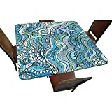 """Becanbe Decorative Elastic Edged Square Fitted Tablecloth,Underwater Wildlife Polyester Indoor Outdoor Fitted Table Cover for Parties, Weddings, Kitchen Fit Square Table up to 30"""""""