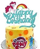 KAPOKKU Glitter Rainbow Happy Birthday Cake Topper for My Little Pony Pinkie Pie Theme Sweet Cute Party Cake Decoration
