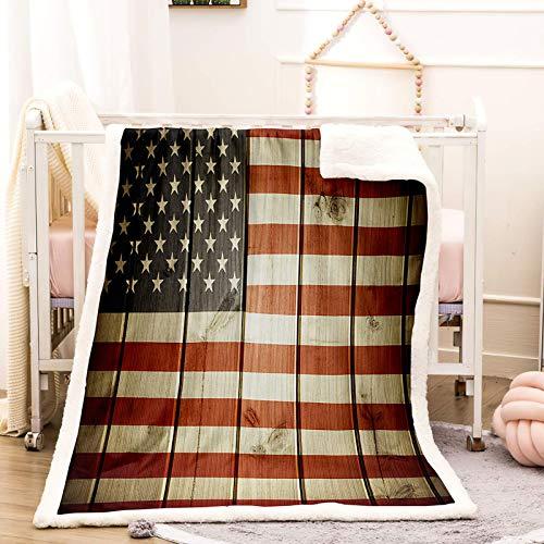WEDSGTV 3D Manta Bandera Americana Retro Rayada 127X102Cm Solo Lado Imprimió El Modelo 3D / Sofá Aire Acondicionado Manta/Dormitorio Siesta Manta Manta De Viaje De Camping para Sofá