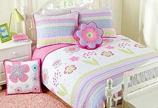 Cozy Line Home Fashions Pink Blossom Floral Print 100% Cotton Reversible Quilt Bedding Set, Coverlet, Bedspreads (Twin - 4 Piece: 1 Quilt + 1 Standard Sham + 2 Decorative Pillows)