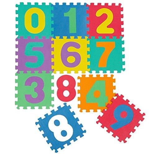 KRAFTZ® - 10 números multicolores de goma EVA para niños - Juego de piezas de rompecabezas interconectadas - Puzzle/alfombra para jugar en el suelo