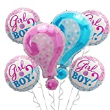 OMG Party Factory - Gender Reveal Balloons   Party Decorations for Baby Announcement Supplies   Girl or Boy? In Pink & Blue   Perfect He or She? Themed Mylar Foil Helium Balloon Question Mark Set
