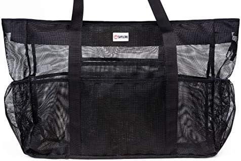 Mesh Beach Bag XXL HUGE L24 xH18 xW8 55L 100 Waterproof Phone Case Padded Handles Top Zip Expandable product image