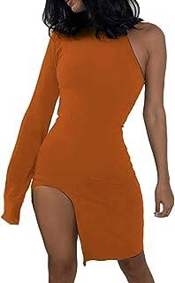 OOTaoper Women One Shoulder Long Sleeve Bodycon Party Dresses Side Slit Sexy Ski