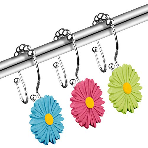 Daisy Decorative Shower Curtain Hooks, 12PCS Rainbow Anti Rust Stainless Steel Floral Rings, Double Sided, Easy Glide, Pretty Flower Decor for Curved Rod, Cute Girls Bathroom, Girly Restroom, Colorful