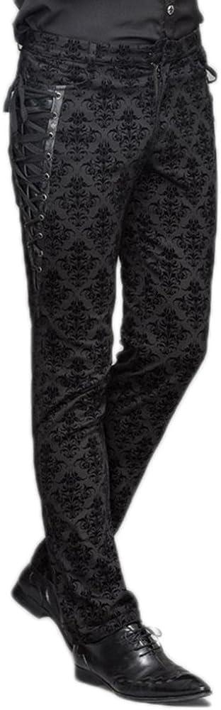 Devil Fashion Punk Gothic Men Long Pants Victorian Casual Dress Pants Black Party Trousers