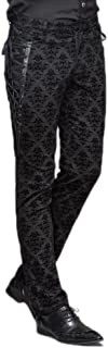 Devil Fashion Punk Gothic Men Long Pants Victorian Casual Dress Pants Black Party Trousers