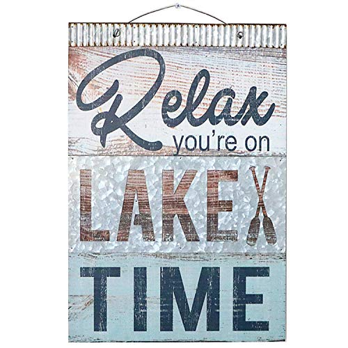 Barnyard Designs Relax Youre On Lake Time Nautical Wooden Plaque with Corrugated Sheet Metal, 20 x 14 | Nautical Lake Home Decor