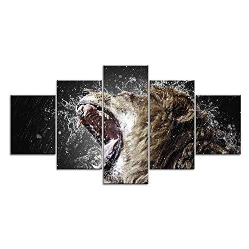 13Tdfc Stampe e Quadri su Tela 5 Pezzi Tela Wall Art Ruggito di Leone Animale Murale Quadri Moderni Soggiorno XXL casa corridoio Decor Regalo Creativo