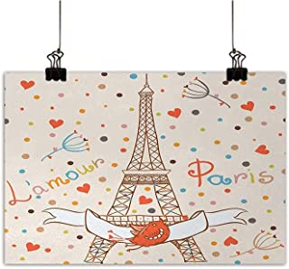 Anzhutwelve Honeymoon Wall Art Decor Poster Painting Paris Eiffel Tower Love Valentines Birds Colorful Polka Dots Vacation Theme Image Decorations Home Decor Multicolor 24
