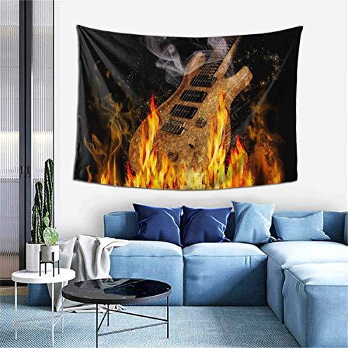 N\A Tapiz para Colgar en la Pared, tapices de Guitarra en Fuego para Dormitorio, Sala de Estar, Dormitorio, Manta de Pared, Toallas de Playa, decoración del hogar