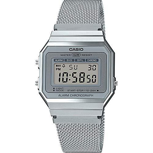 CASIO Damen Digital Quarz Uhr mit Edelstahl Armband A700WEM-7AEF