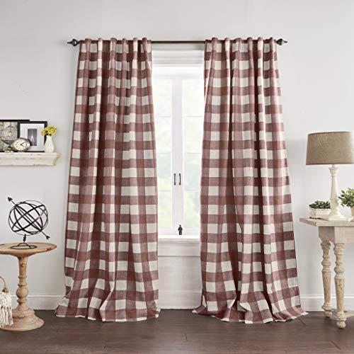 "Elrene Home Fashions Grainger Buffalo Check Blackout Window Curtain Panel, 52""x95"" (1, Red"