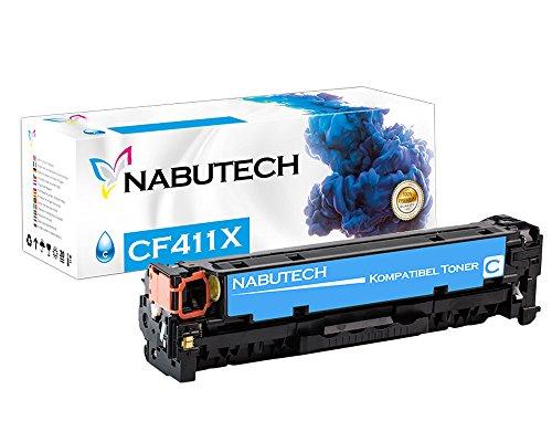 Nabutech toner als vervanging voor HP CF411X Cyan compatibel met HP Color Laserjet Pro M452nw, M452dn toner, Pro MFP M377dw, M477fnw toner, MFP M477fdn toner | getest volgens ISO-norm 19798 |