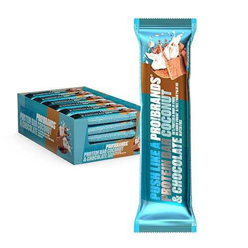 Probrands High Protein 38% and no Added Sugar Bar, 45 G x 24 PCS – Chocolate-Covered Protein bar with Coconut Flavour
