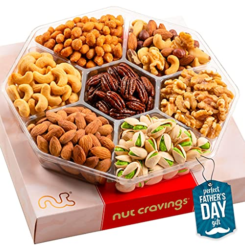 Fathers Day Gourmet Nut Gift Basket in Red Box (7 Piece Assortment, 1 LB) - Prime Arrangement Platter, Birthday Care Package Variety, Healthy Food Kosher Snack Tray for Dad, Women, Men, Adults