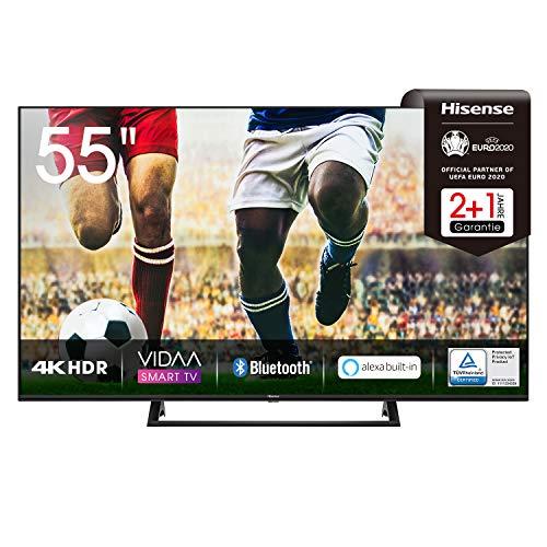 Hisense 55AE7200F 139 cm (55 Zoll) Fernseher (4K Ultra HD, HDR, Triple Tuner DVB-C/S/S2/T/T2, Smart-TV, Mittelstandfuß, Frameless, Bluetooth, Alexa, 3 Jahre Garantie)