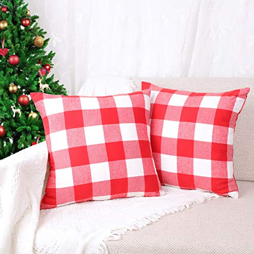 4TH Emotion Set of 2 Christmas Buffalo Check Plaid Throw Pillow Covers Cushion Case Cotton Polyester for Farmhouse Home Decor Red and White, 18 x 18 Inches