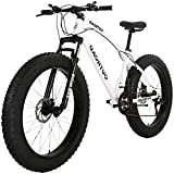 PanAme 26 inch Fat Tire Mountain Bike, High-Carbon Steel Frame,...
